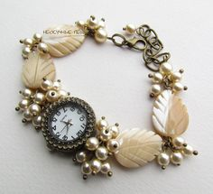 """Купить """"Листья""""-4 наручные часы с перламутром - белый, часы, часики, наручные часы"""