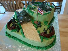 Army Cake Army theme cake for a 7 yr old who loves anything Army