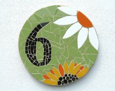 Decorative house number mosaic, made to order