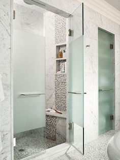 Play with Pattern NOTE: Like the frosted door panel. Less glass to keep shining.