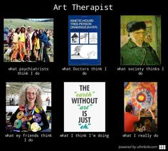 """just found this randomly while searching """"art therapy"""" boards on Pinterest...and realized that under the """"what I really do"""" is a picture of me painting a mural with a buddy! such a small creative world....love it!"""