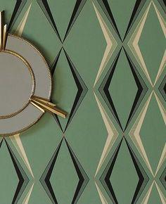 A stylish Art Deco diamond pattern in a subtle green color http://www.wowwallpaperhanging.com.au/art-deco-wallpaper/