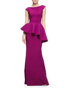 e0f6f11b512 La Petite Robe di Chiara Boni Etheline Cap-Sleeve Peplum Column Gown