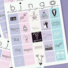 Bridal Bingo for the bridal shower. Instead of presents in the spaces..