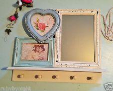 Delilah Mirror Photo Frame & Multi Hook Shelf Unit
