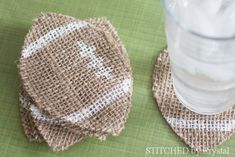 Holiday: Football Crafts: Burlap Burlap football coasters from Stitched by Crystal, Super Bowl. Burlap Football, Football Crafts, Football Decor, Football Stuff, Football Food, Football Shirts, Football Names, Football Pictures, Football Party Decorations