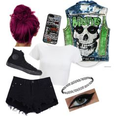 misfits vest is awesome!! by clumsycinderella2992 on Polyvore featuring polyvore fashion style Lipsy Converse Dorothy Perkins
