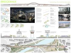Image 7 of 14 from gallery of Transforming the Bridge Competition Winners. First Place (Tied) / Archilier Architecture; Courtesy of Transforming the Bridge Competition Parametric Architecture, Architecture Board, Architecture Design, Architecture Visualization, Landscape Architecture, Presentation Board Design, Project Presentation, Poster Competition, Poster Layout