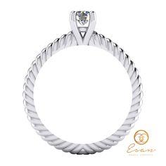 Inel de logodna cu diamant model impletit ES132 Aur, Engagement Rings, Mirror, Model, Jewelry, Enagement Rings, Wedding Rings, Jewlery, Schmuck