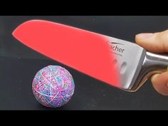 2de4e3b19 EXPERIMENT Glowing 1000 degree KNIFE VS Rubber Band Ball