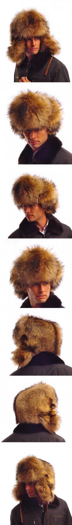 URSFUR Men's Raccoon Full Fur Russian Ushanka Trapper Hats Brown Z93