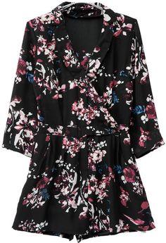 Shop Black Lapel Long Sleeve Floral Print Jumpsuit online. Sheinside offers Black Lapel Long Sleeve Floral Print Jumpsuit & more to fit your fashionable needs. Free Shipping Worldwide!