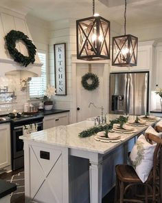 Rustic Farmhouse Kitchen Design Ideas - Farmhouse kitchen style will be perfect idea if you want to have family gathering in your kitchen during meal time. There are a lot of ideas in decora. Kitchen Island Decor, Kitchen Island Lighting, Home Decor Kitchen, New Kitchen, Kitchen Ideas, Kitchen Inspiration, Awesome Kitchen, Kitchen Layout, Kitchen Islands
