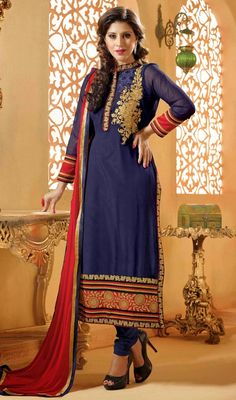 Look enthralling in the huge midst by wearing this navy blue shade georgette churidar suit. The amazing attire creates a dramatic canvas with incredible patch and resham work. #FabulousCasualDress