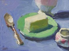 """Peggi Kroll-Roberts Butter on Green Plate, Oil on Canvas, 9"""" x 12"""""""