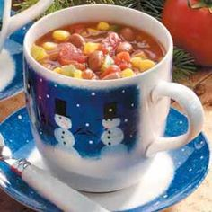 Easy Pinto Bean Stew Recipe (taste of home)-- vegan and chock full of vegetables. Bet this tastes heartwarming and sweet! Love the cup its in too :)