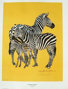 Animal Lithograph Print Wanye E Smyth  Burchell's Zebra, Vintage 1976 Limited Edition, African Animal Poster Industrial Chic Nursery Decor
