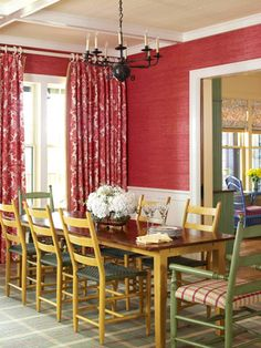 Dining Room - love the red walls.