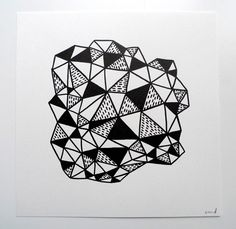 Crystalline Form - Original Ink Drawing by Erin Dollar