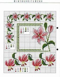 des lys et des fuchias Cross Stitch Heart, Cross Stitch Borders, Cross Stitch Flowers, Cross Stitching, Cross Stitch Embroidery, Cross Stitch Patterns, Hand Work Embroidery, Embroidery Patterns, Crochet Patterns