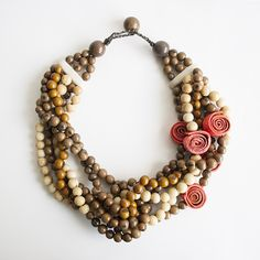 Braided Dream Necklace . Coral & Cafe Multi