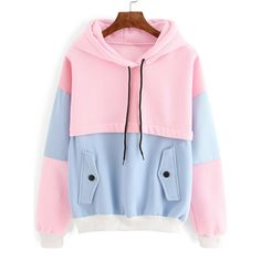 Color Block Drawstring Hooded Sweatshirt ($20) ❤ liked on Polyvore featuring tops, hoodies, multicolor, hooded sweatshirt, pullover hoodies, pink hooded sweatshirt, cotton hoodies and cotton pullovers
