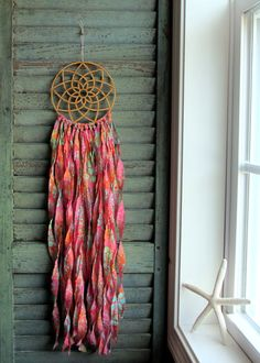 bohemian dream catcher  bohemian baby  vegan pink by wingedwhimsy, $45.00