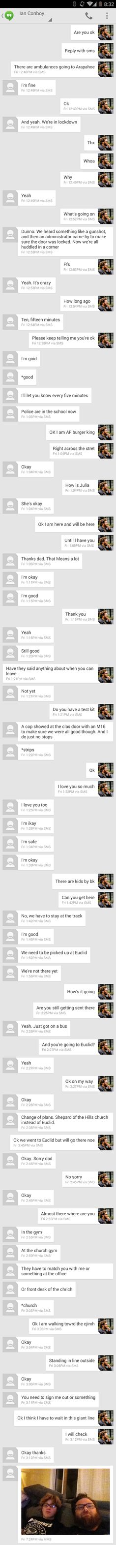 Texts between a father and his son during the Arapahoe shooting. - Imgur  Oh the feels....