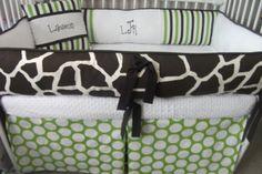 Custom Baby Boy Green Brown Giraffe Stripe Bedding by abusymother, $209.99