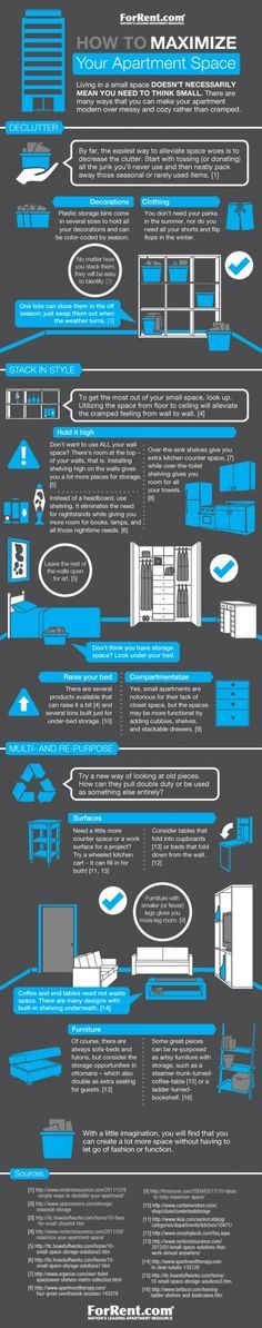 Maximizing small apartment space. @ Pinfographics We don't have a tiny place but this has some smart tips.