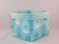 Lovely Aqua Birdcage and Script Fabric Basket For Storage Or Gift Giving