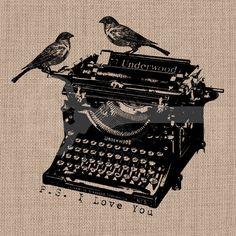 P.S. I love you typewriter birds Digital Download: Image No.174  image transfer to burlap, linen, fashion, decor, printable artwork. $1.00, via Etsy.