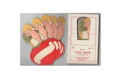 Here for your consideration is this complete set of 8 Cupid or cherub place cards made by the Dennison Company in the 1920s. Each place card depicts a