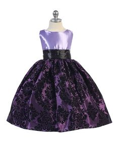 Another great find on #zulily! Purple Damask A-Line Dress - Toddler & Girls #zulilyfinds