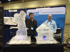 Dog and dog house ice sculptures at a Veterinary trade show. #icesculptures