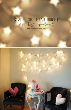 DIY Dorm Room Decor Ideas - Star Light Star Bright Light Garland - Cheap DIY Dorm Decor Projects for College Rooms - Cool Crafts, Wall Art, Easy Organization for Girls - Fun DYI Tutorials for Teens and College Students diyprojectsfortee. Diy Christmas Decorations Easy, Decorating With Christmas Lights, Light Decorations, Cool Dorm Rooms, Awesome Bedrooms, Cheap Diy Dorm Decor, Teen Bedroom Lights, Room Decor For Teen Girls, Diy Home Decor Rustic