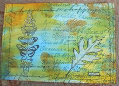 Collage Art Panel.  Distress Stains Background.  Crafty Individuals and Tim Holtz Stamps.  www.aldridgecrafts.co.uk