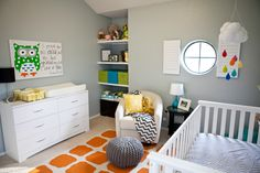 Project Nursery - Gray and Orange Eclectic Room, turquoise, yellow, adorable mobile