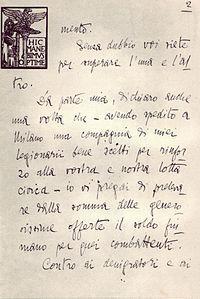 Gabriele D'Annunzio -lttera a Mussolini parte 2^