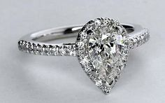 Copy of 1.36ct Pear Shape Diamond Engagement Ring EGL certified 18kt White Gold JEWELFORME BLUE