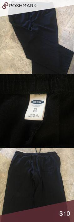 Black Linen Pants Black Linen XL Old Navy  Front & back pockets Old Navy Pants Wide Leg