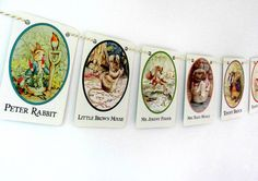 Peter Rabbit garland Beatrix Potter Bunting by ClaireWheatDesigns