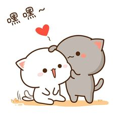 Cute Love Gif, Cute Love Pictures, Cute Images, Chibi Cat, Cute Chibi, Griffonnages Kawaii, Funny Cartoon Faces, Cute Bear Drawings, Cute Kawaii Animals