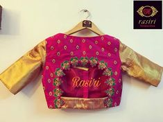 Beautiful pink color bridal designer blouse with key hole design. Blouse with hand embroidery thread and cut work. Customised for Rakshita Gowda for her engagement ceremony. Simple Blouse Designs, Stylish Blouse Design, Silk Saree Blouse Designs, Saree Blouse Patterns, Bridal Blouse Designs, Latest Blouse Designs, Maggam Work Designs, Designer Blouse Patterns, Blouse Models
