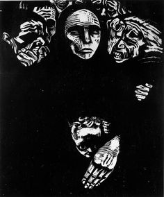 Käthe Kollwitz - I don't know the title of this  print but I can feel the anguish and pain. The power of her cut lines amaze me. S It is 'The People'