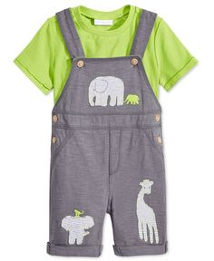 First Impressions Baby Boys' 2-Piece T-Shirt & Animal Shortall Set, Only at Macy's