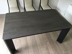 New York ceramic top extendable dining table. Rounded corner table in Blaze Dark ceramic with rounded corner steel legs in Black matt. Delivered to our client in Middlesex. Extendable Dining Table, Dining Bench, Leather Bed, Corner Table, Round Corner, Sofa Design, Modern Bedroom, Contemporary Furniture, Steel Frame