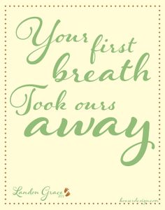 Your First Breath Took Ours Away!  Baby decor for your nursery!   Lindsay.KooserDesign.com