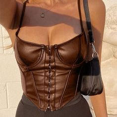 Leather Bustier, Black Bustier, Pu Leather, Vintage Leather, White Corset Top, Leather Tops, Leather Crop Top, Bustier Top, Leather Fabric