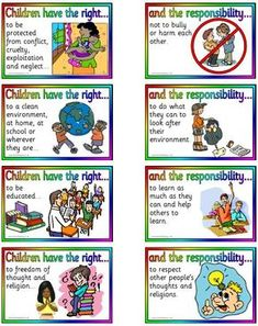 """Children's Rights and Responsibilities. Sometimes children take their """"rights"""" for granted and forget that they actually have """"responsibilities"""" that go hand in hand. To be an active citizen you have to take both your rights and responsibilities into consideration."""